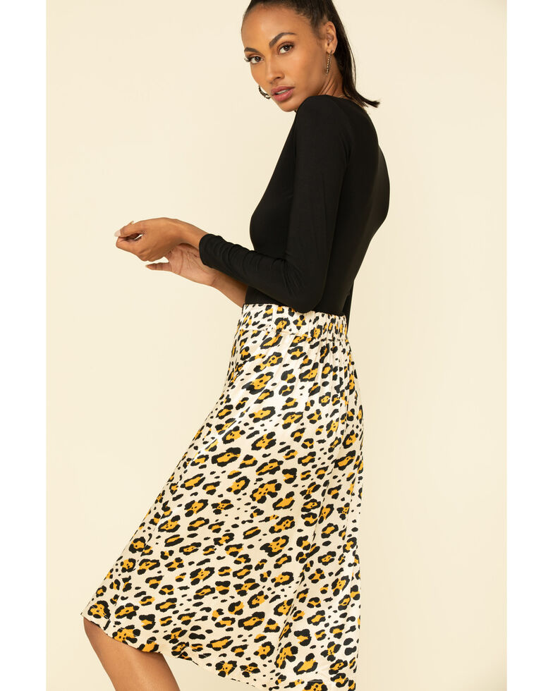Shyanne Women's Leopard Satin Midi Skirt , Leopard, hi-res