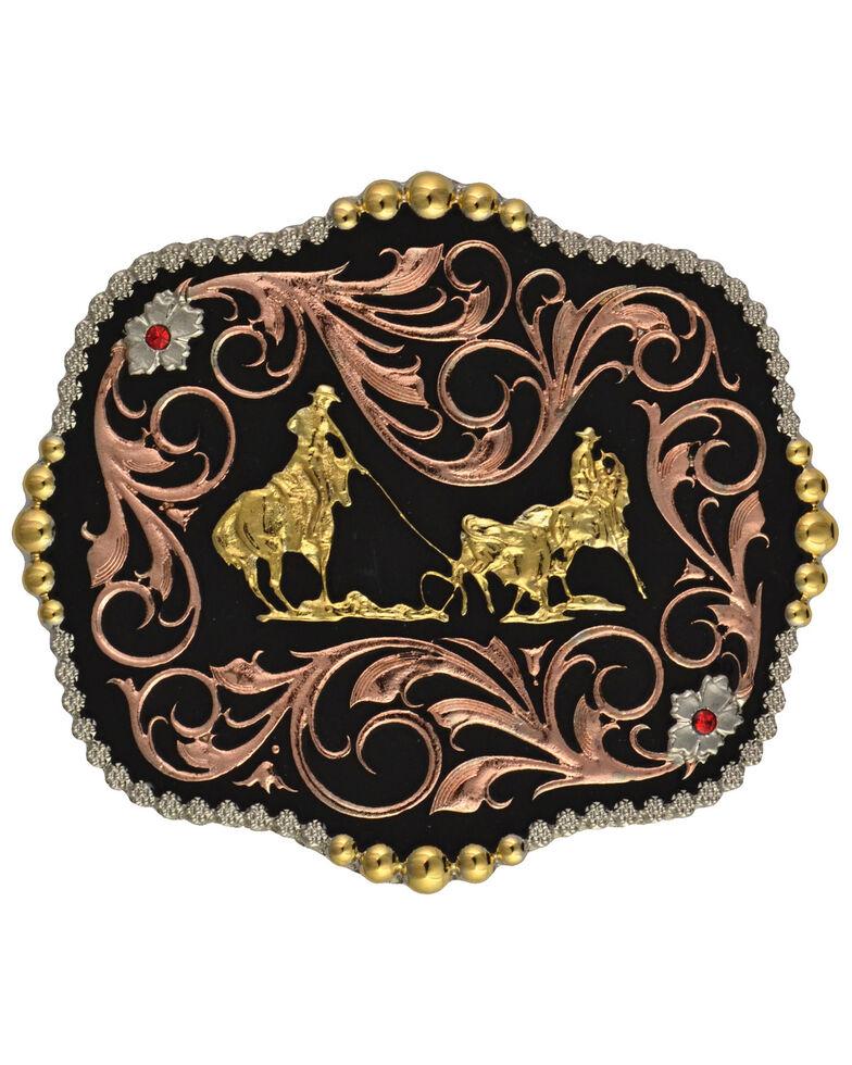 Montana Silversmiths Tri-Color Bullrider Traditional Attitude Buckle, Multi, hi-res