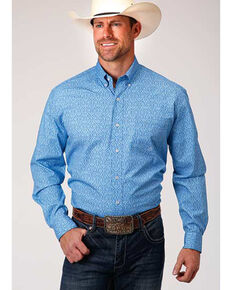 Amarillo Men's Dusk Wallpaper Print Long Sleeve Western Shirt , Blue, hi-res