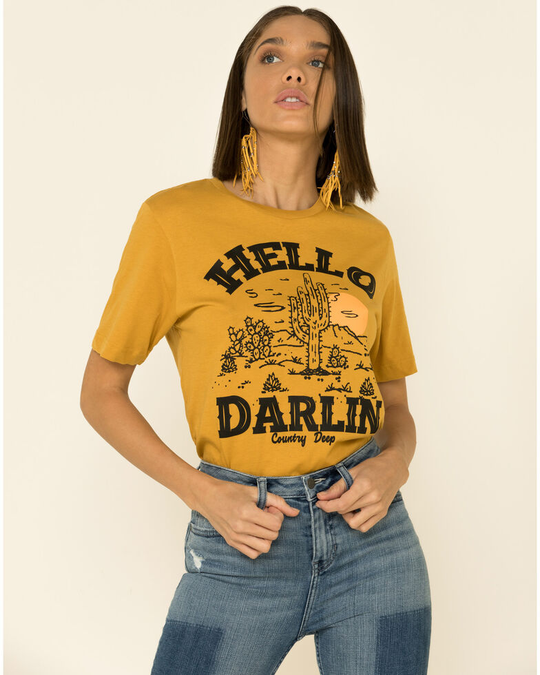Country Deep Women's Mustard Hello Darlin Graphic Distressed Tee , Mustard, hi-res