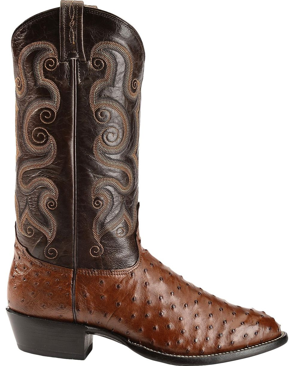 Tony Lama Full Quill Ostrich Cowboy Boots - Round Toe, Coffee, hi-res