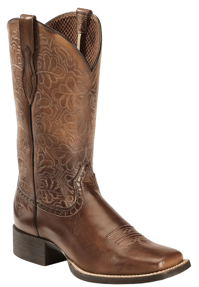 9e32626dcbf Ariat Rich Brown Round Up Remuda Cowgirl Boots - Square Toe