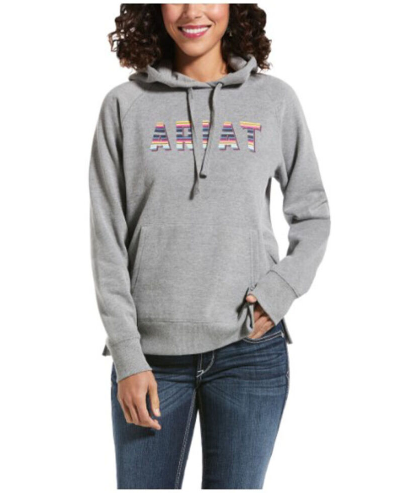 Ariat Women's Heather Grey R.E.A.L Serape Logo Hooded Sweatshirt , Heather Grey, hi-res