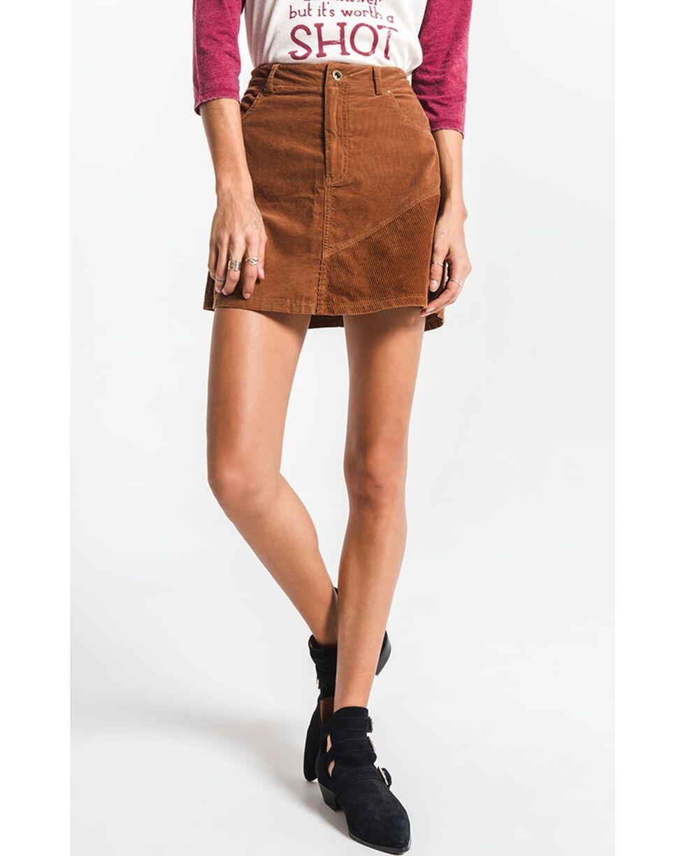 White Crow Women's Brushed Corduroy Mini Skirt , Brown, hi-res