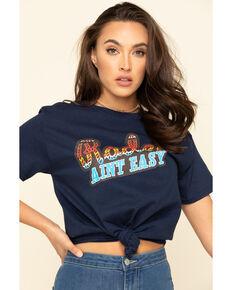 Ranch Dress'n Women's Navy Rodeo Ain't Easy Tee , Navy, hi-res