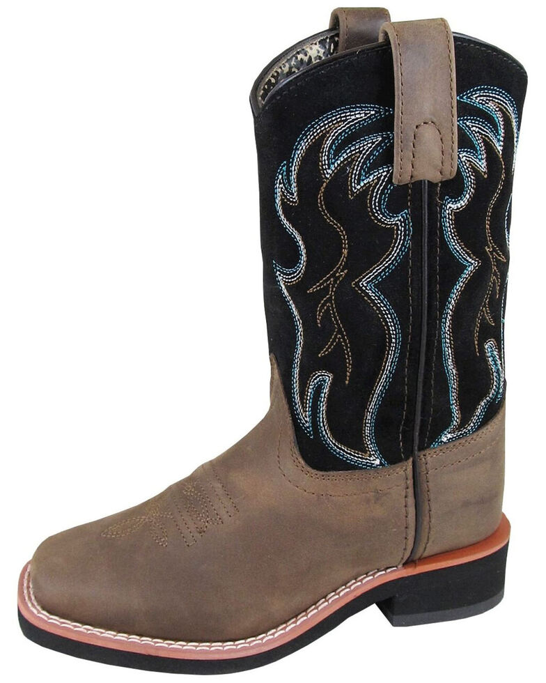 Smoky Mountain Boys' Alex Western Boots - Square Toe, Black/brown, hi-res