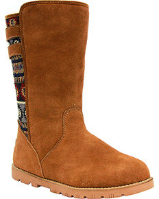 Lamo Footwear Women's Melanie Suede Winter Boots - Round Toe, Chestnut, hi-res