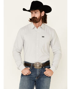 Kimes Ranch Men's Solid Silver Linville Coolmax Long Sleeve Button-Down Western Shirt, Silver, hi-res