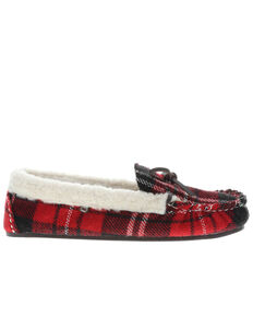 Lamo Footwear Women's Jingle Slippers - Moc Toe, Red, hi-res