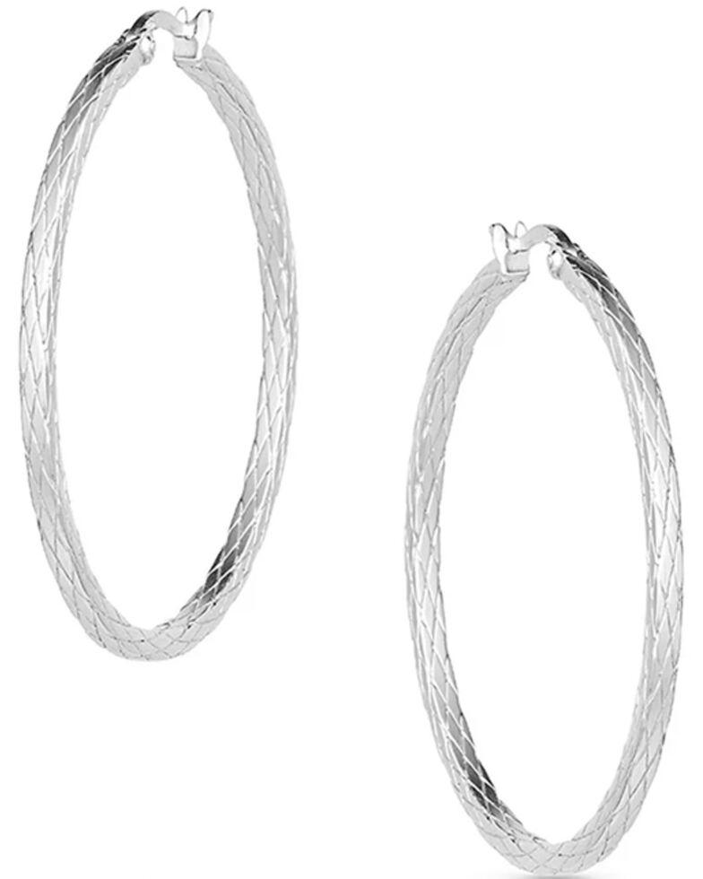 Montana Silversmiths Women's Diamond Cut Argyle Hoop Earrings, Silver, hi-res