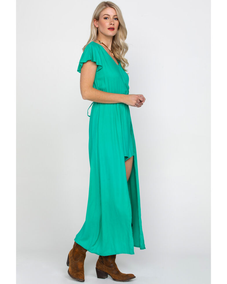 Rock & Roll Cowgirl Women's Crossed Front Step-Through Maxi Dress, Green, hi-res