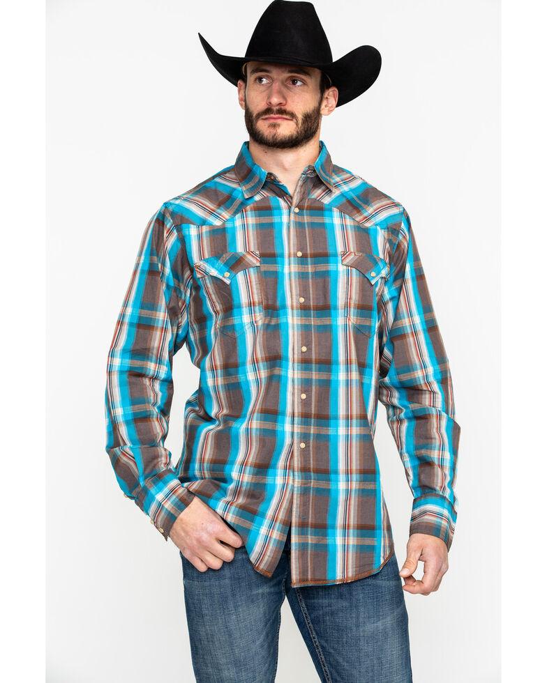 Roper Men's Brown Medium Plaid Long Sleeve Western Shirt , Brown, hi-res