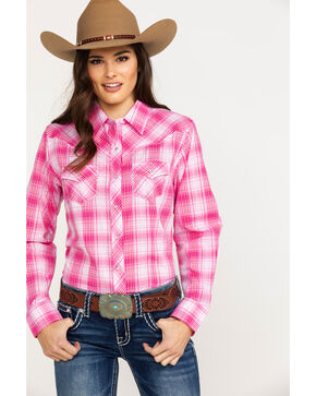 Ely Cattleman Women's Lurex Plaid Pearl Snap Long Sleeve Western Shirt , Pink, hi-res