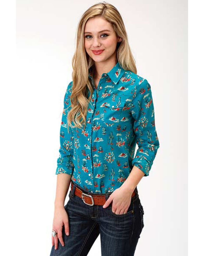 Five Star Women's Teal Cactus Print Long Sleeve Western Shirt, Blue, hi-res