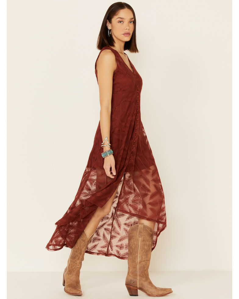 Shyanne Women's Lace Maxi Dress, Rust Copper, hi-res