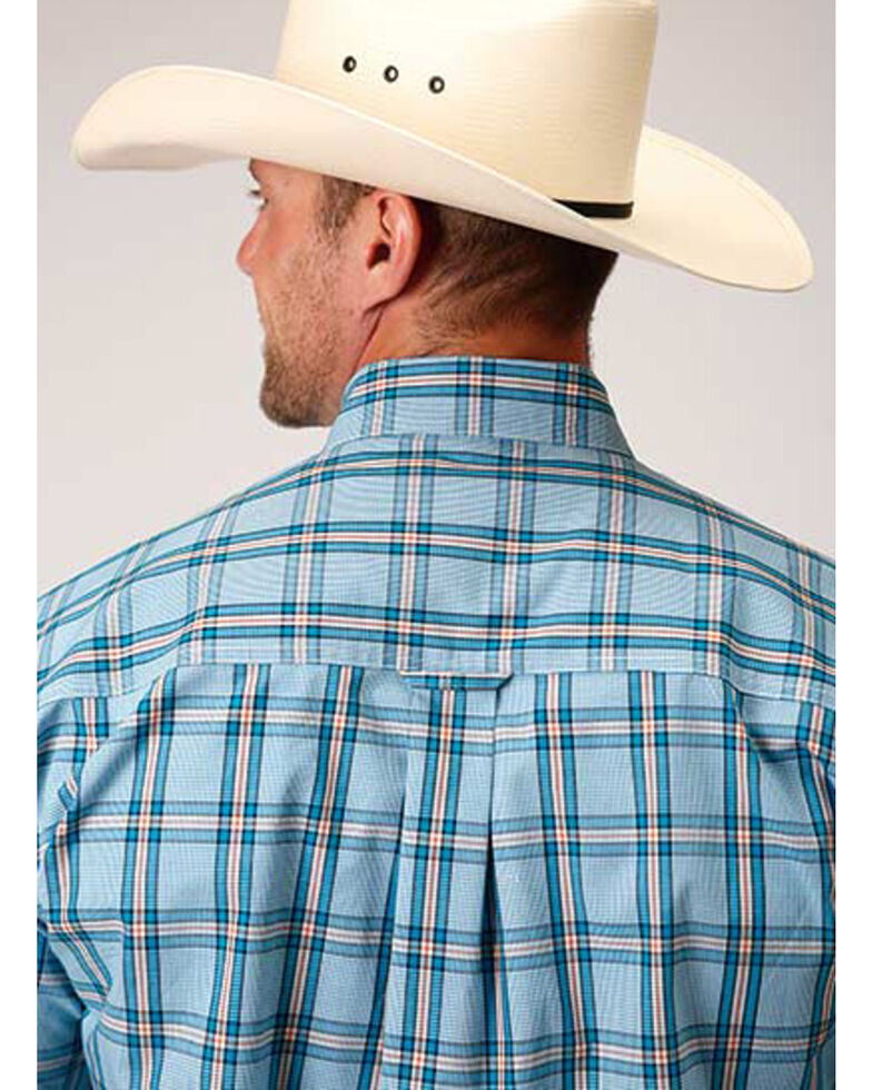 Amarillo Men's Oasis Cold Creek Plaid Short Sleeve Western Shirt , Blue, hi-res