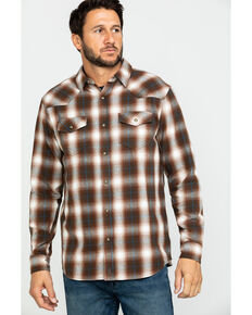 Cody James Men's Mud Pit Plaid Long Sleeve Western Flannel Shirt , Brown, hi-res