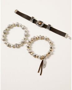 Shyanne Women's Claire Feather Stretch Bracelet Set, Silver, hi-res