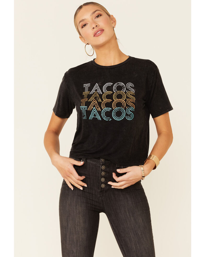 Rock & Roll Denim Women's Tacos Tacos Tacos Graphic Short Sleeve Tee , Charcoal, hi-res