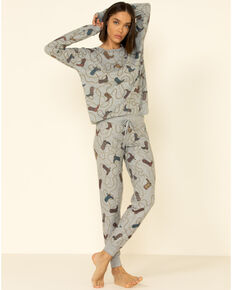PJ Salvage Women's Boots Print Lounge Pants, Heather Grey, hi-res