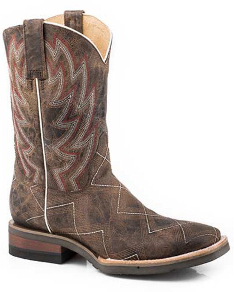 Roper Men's Brown Garland Western Boots - Square Toe, Brown, hi-res