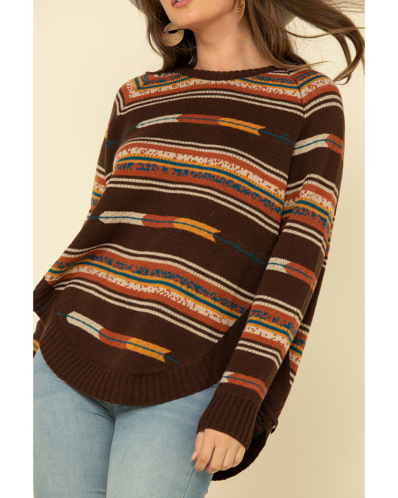 Cotton & Rye Outfitters Women's Navajo Round Hem Sweater, Brown, hi-res