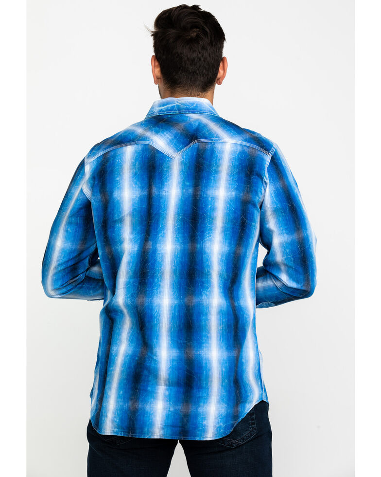 Rock & Roll Cowboy Men's Blue Large Crinkle Plaid Long Sleeve Western Shirt , Indigo, hi-res