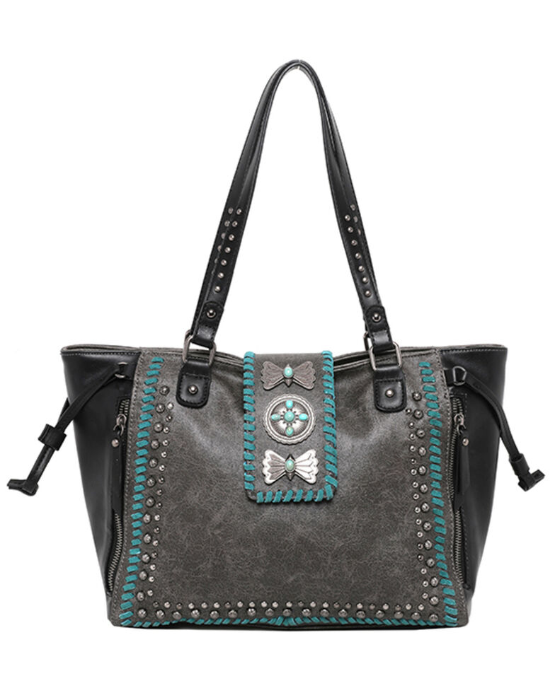 Montana West Women's Wrangler Butterfly Concho Wide Tote Bag, Black, hi-res