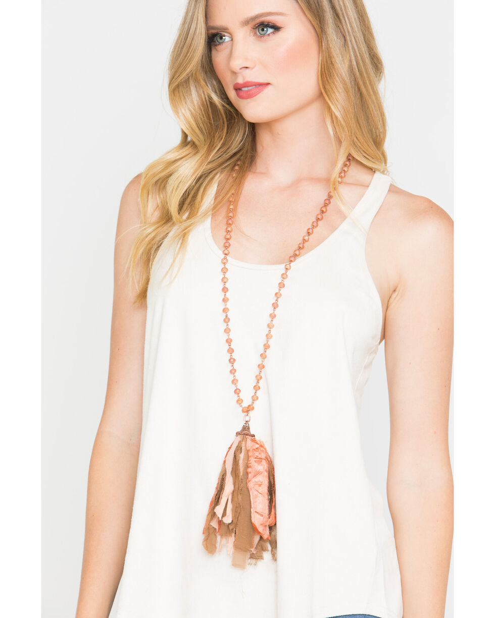 Shyanne Women's Texas Rose Beaded Necklace with Fabric Tassel, Rust Copper, hi-res