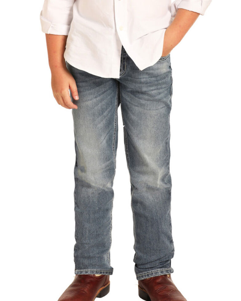 Rock & Roll Cowboy Boys' Reflex Medium Vintage Stretch Slim Jeans , Blue, hi-res