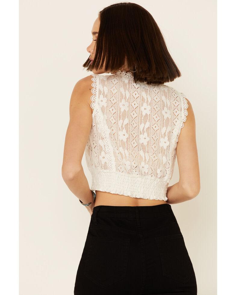 Molly Bracken Women's White Lace Crop Tank Top , White, hi-res