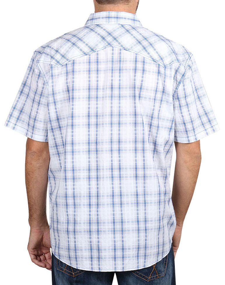 Moonshine Spirit Men's White Plaid Short Sleeve Western Shirt , White, hi-res