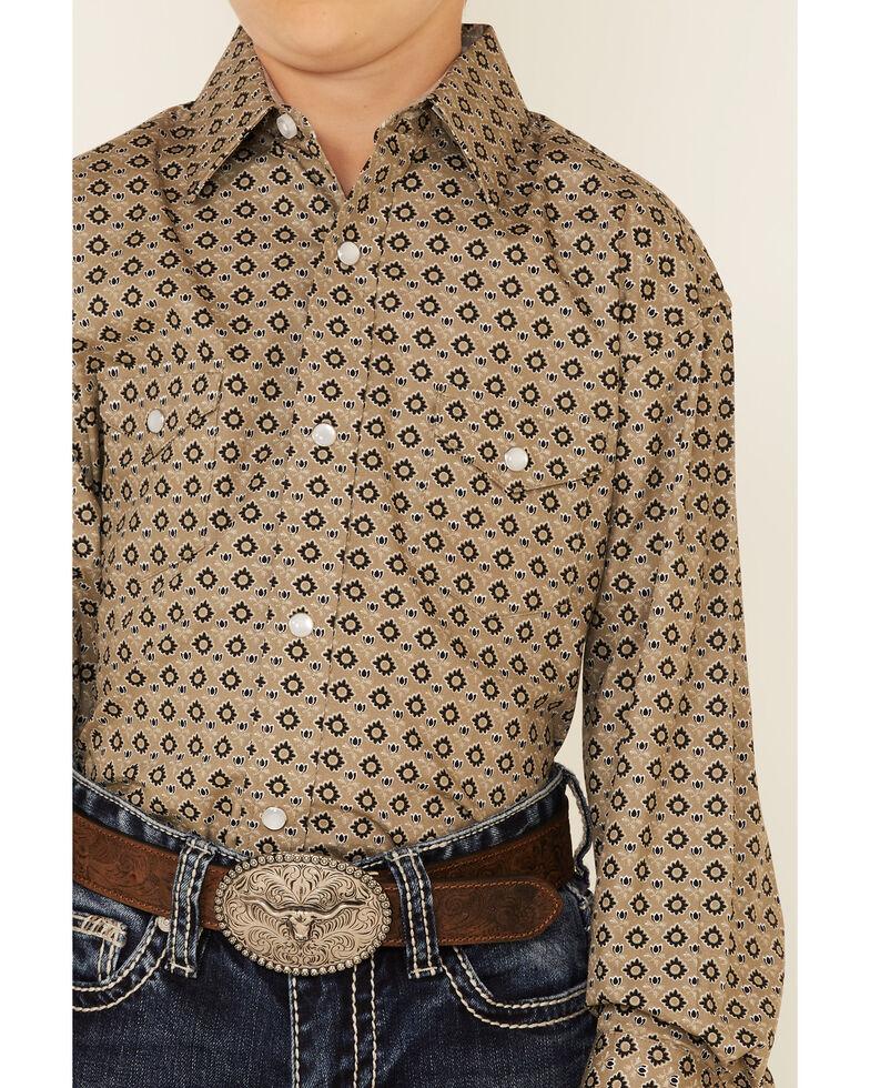 Panhandle Boys' Taupe Geo Print Long Sleeve Snap Western Shirt , Beige/khaki, hi-res