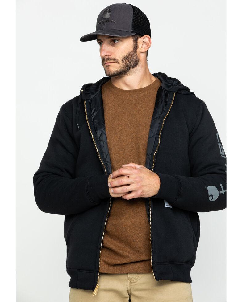 Carhartt Men's Midweight Hooded Zip-Front Work Sweatshirt - Big , Black, hi-res