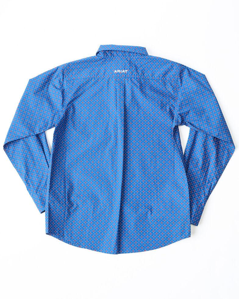 Ariat Boys' Ohlinger Geo Print Long Sleeve Western Shirt , Blue, hi-res