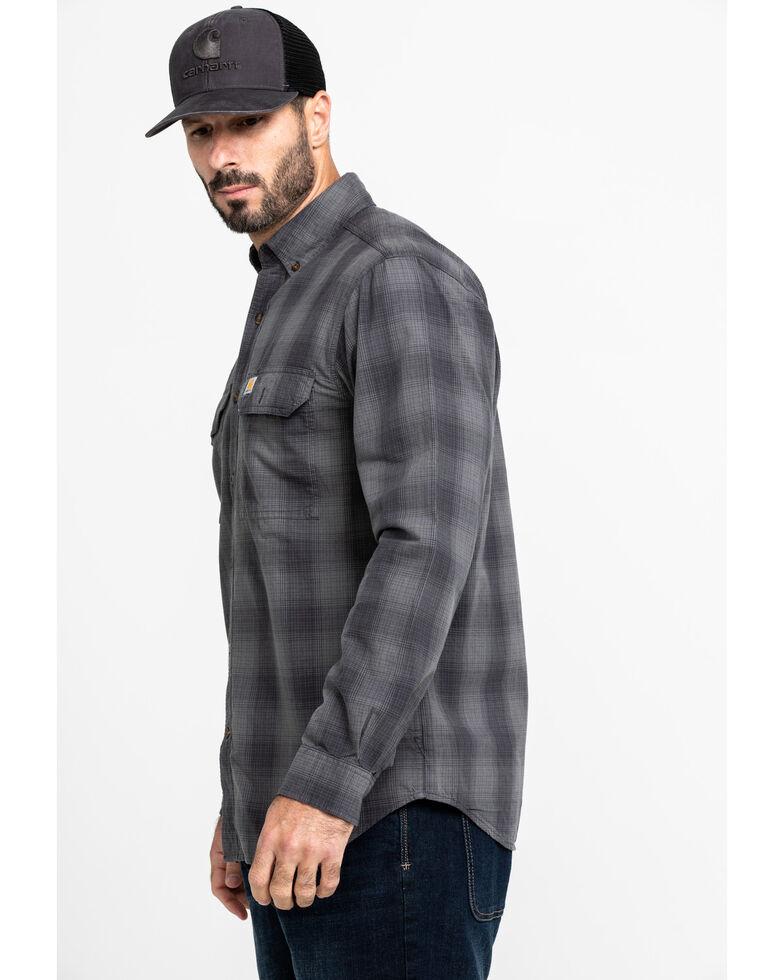 Carhartt Men's Grey Fort Plaid Button Long Sleeve Work Shirt - Tall , Grey, hi-res