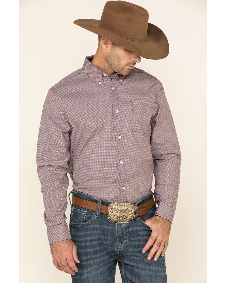 Cody James Core Men's Twisted Path Small Geo Print Long Sleeve Western Shirt , Burgundy, hi-res
