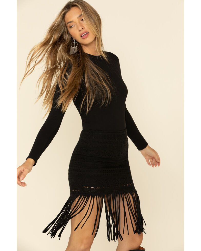 Shyanne Women's Black Crochet Fringe Mini Skirt , Black, hi-res