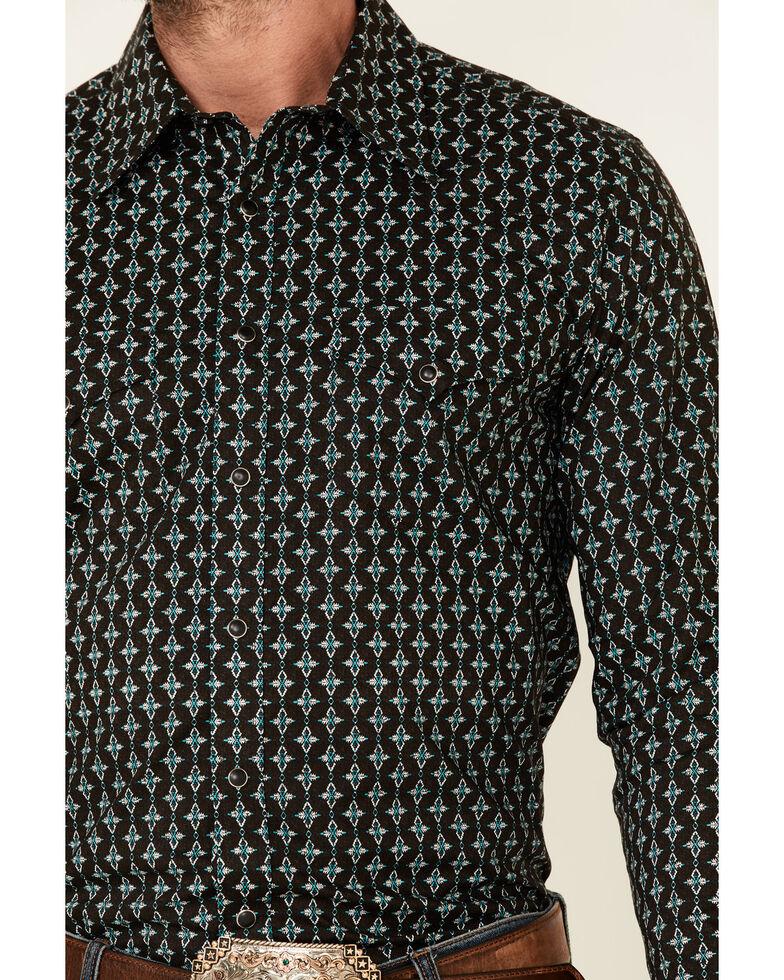 Rock & Roll Denim Men's Brown Aztec Geo Print Long Sleeve Snap Western Shirt , Brown, hi-res
