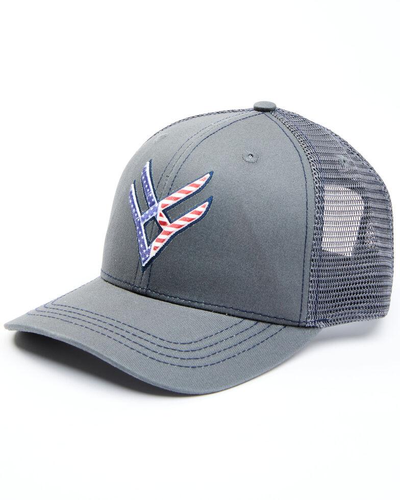 Hawx Men's Charcoal Flag Logo Mesh-Back Ball Cap , Charcoal, hi-res