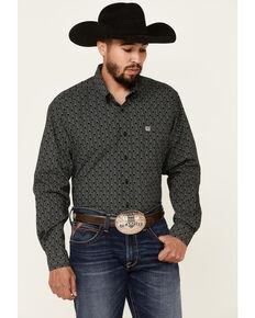 Cinch Men's Black Circle Geo Print Long Sleeve Button-Down Western Shirt, Black, hi-res