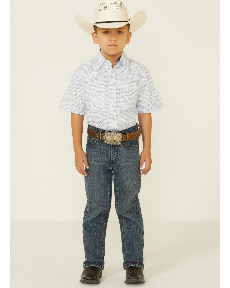 Ely Walker Boys' White Chevron Geo Print Short Sleeve Snap Western Shirt , White, hi-res