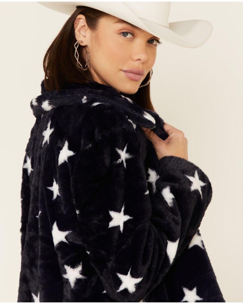 Hem & Thread Women's Navy Star Print Faux Fur Jacket , Navy, hi-res