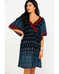 52dbe70686b2 Bila Women s Surplice Border Print Short Sleeve Dress
