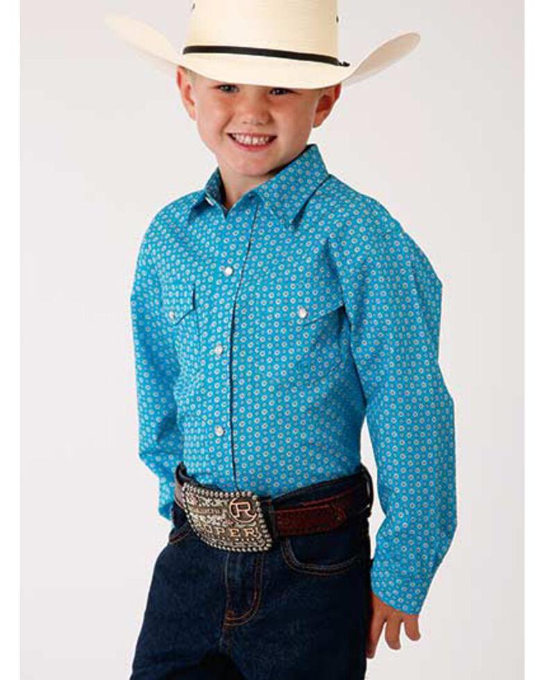 Amarillo Boys' Desert Sky Vintage Geo Print Long Sleeve Western Shirt , Turquoise, hi-res