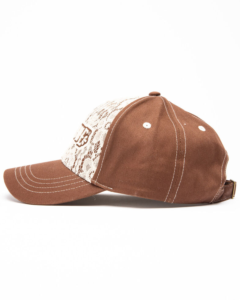 Shyanne Women's Lace Logo Cap , Brown, hi-res