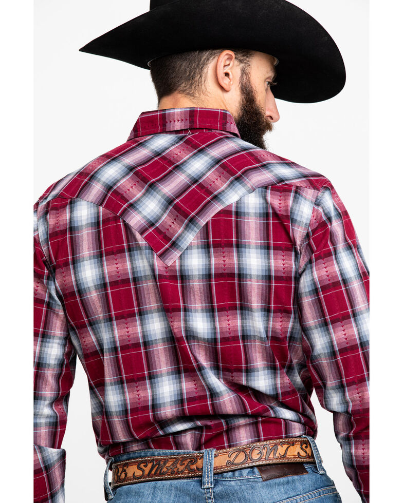 Roper Men's Red Med Plaid Long Sleeve Western Shirt , Red, hi-res