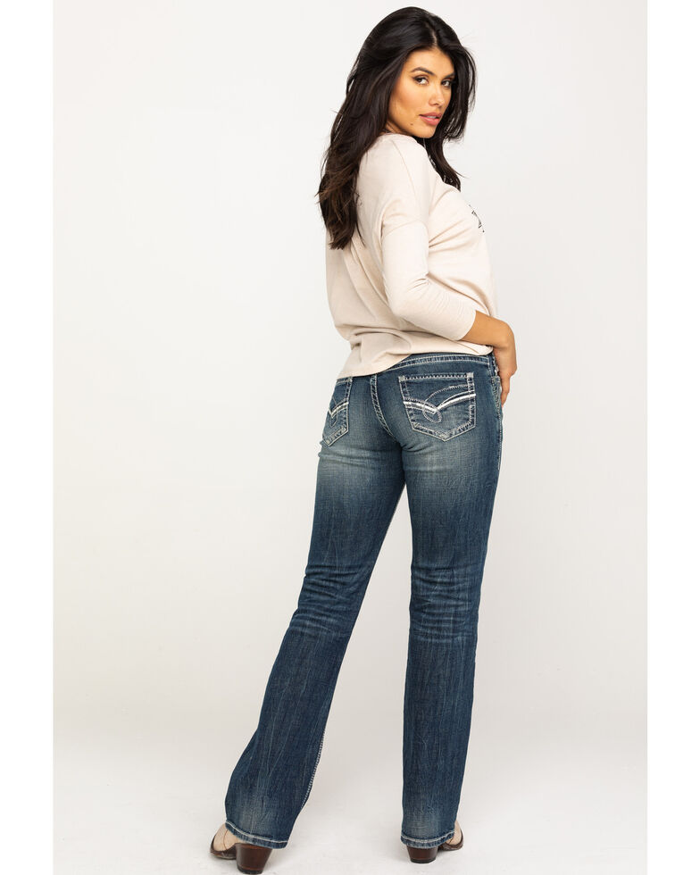 Rock & Roll Cowgirl Women's Dark Vintage Bootcut Riding Jeans  , Blue, hi-res
