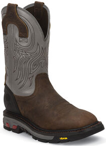 Justin Men's Tanker Silver Electrical Hazard Work Boots - Steel Toe, Timber, hi-res