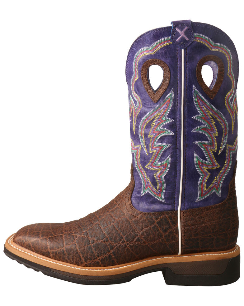 Twisted X Men's Lite Cowboy Elephant Print Western Work Boots - Alloy Toe, Brown, hi-res